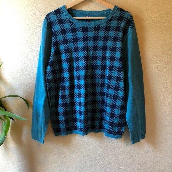 Tommy Hilfiger Checked Teal Sweater XL